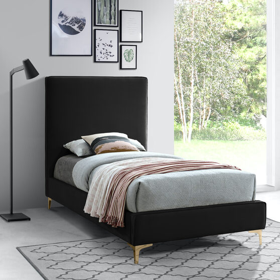 Velvet fabric casual design stand-alone twin bed