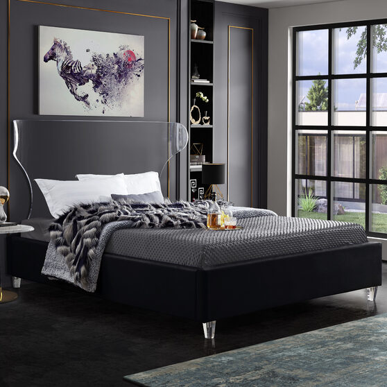 Acrylic wing style headboard platform bed