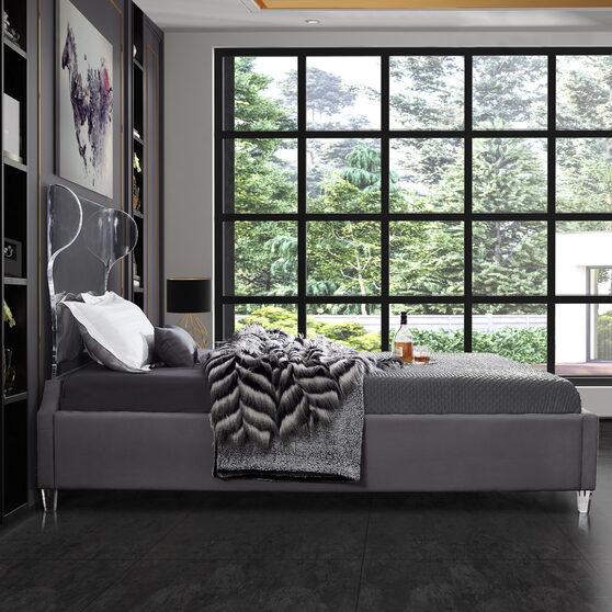 Acrylic wing style headboard platform full bed
