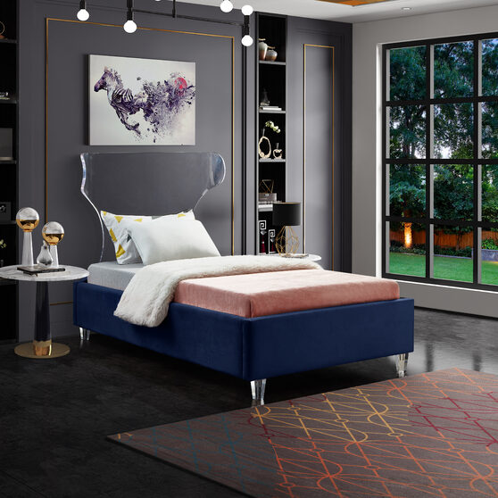 Acrylic wing style headboard platform twin bed