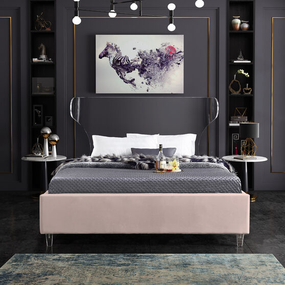 Acrylic wing style headboard platform king bed