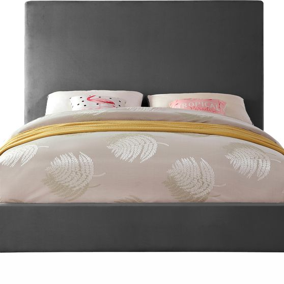 Gray velvet casual style full bed w/ gold & silver legs