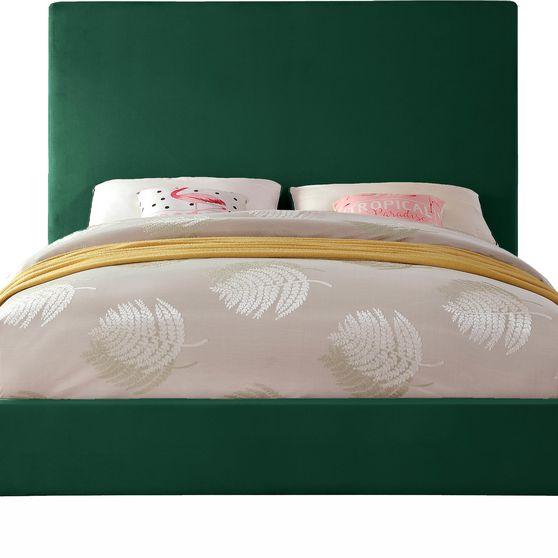 Green velvet casual style full bed w/ gold & silver legs