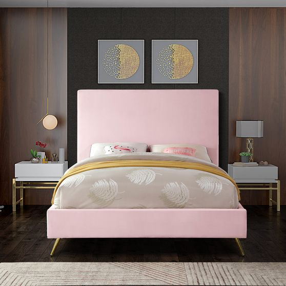 Pink velvet casual style king bed w/ gold & silver legs