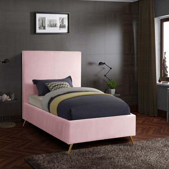 Pink velvet casual style twin bed w/ gold & silver legs