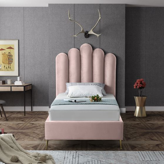 Velvet contemporary floral design twin bed