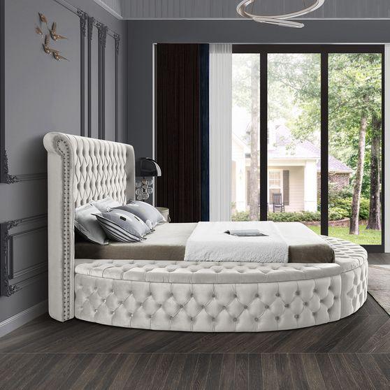 Exclusive round tufted platform full bed w/ storage
