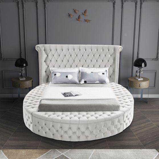 Exclusive round tufted platform king bed w/ storage