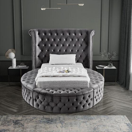 Exclusive round tufted platform twin bed w/ storage