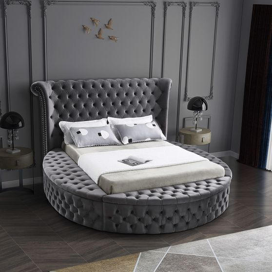Exclusive round tufted platform bed w/ storage