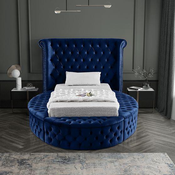Exclusive round tufted twin platform bed w/ storage