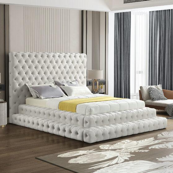 Cream velvet tiered design tufted contemporary bed