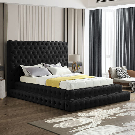 Black velvet tiered design tufted contemporary bed