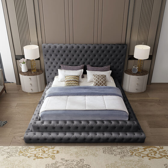 Gray velvet tiered design tufted contemporary king bed