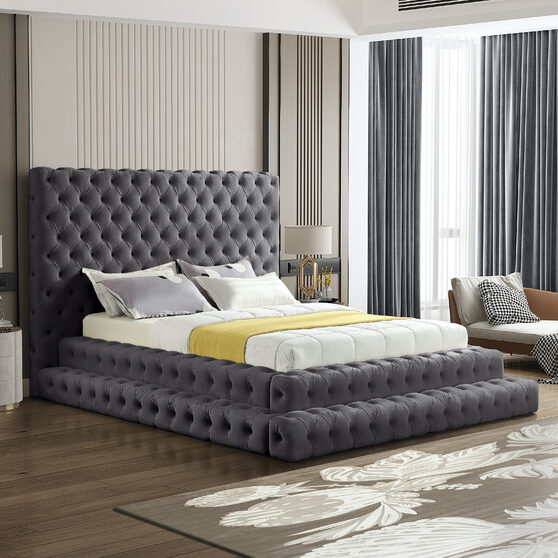 Gray velvet tiered design tufted contemporary bed