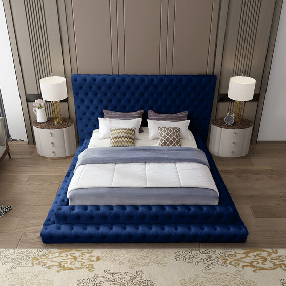 Navy velvet tiered design tufted contemporary king bed
