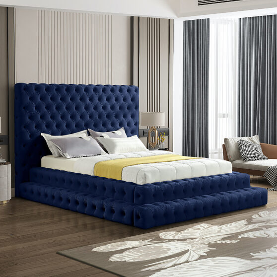 Navy velvet tiered design tufted contemporary bed