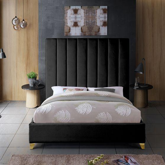 Modern black velvet platform bed
