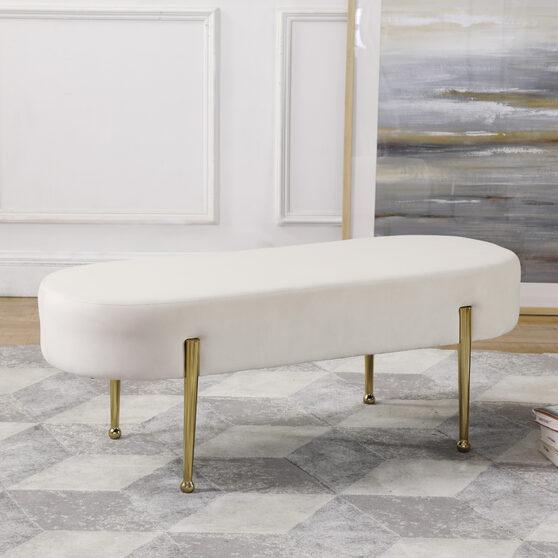 Cream contemporary velvet bench