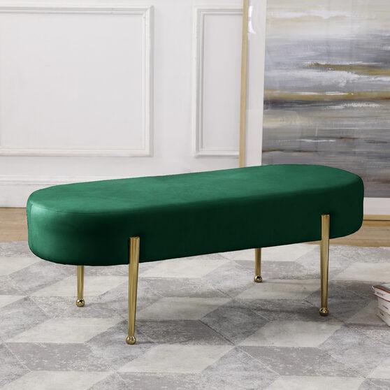 Green contemporary velvet bench