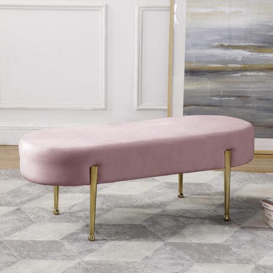 Pink contemporary velvet bench