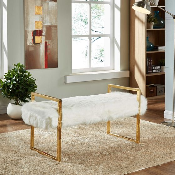 White fur bench with gold chrome base