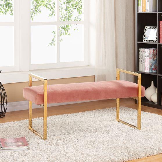 Velvet / gold steel bench in contemporary style