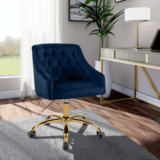 Velvet stylish adjustable height / gold base computer chair