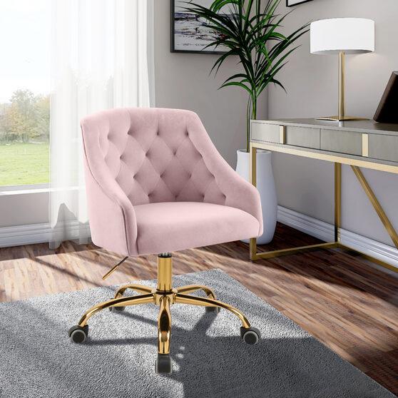 Velvet stylish adjustable height / gold base computer chair