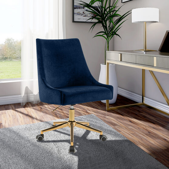Velvet / gold base stylish contemporary office chair