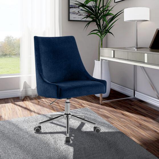 Velvet / chrome base stylish contemporary office chair