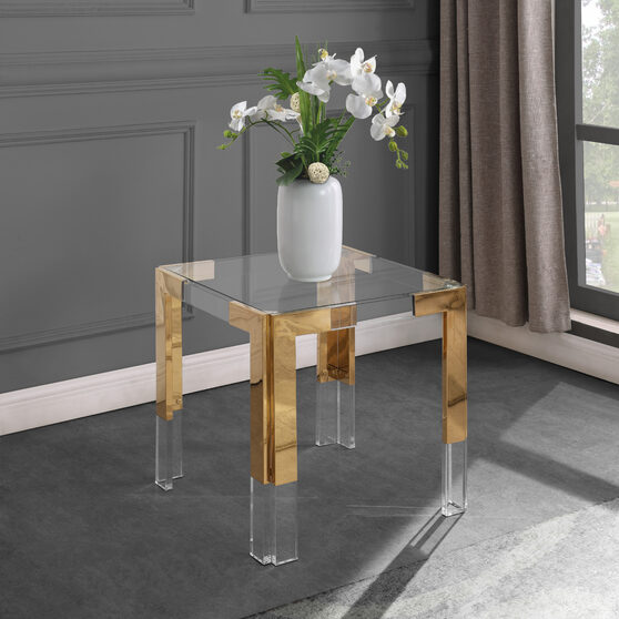 Gold / glass glam style square end table