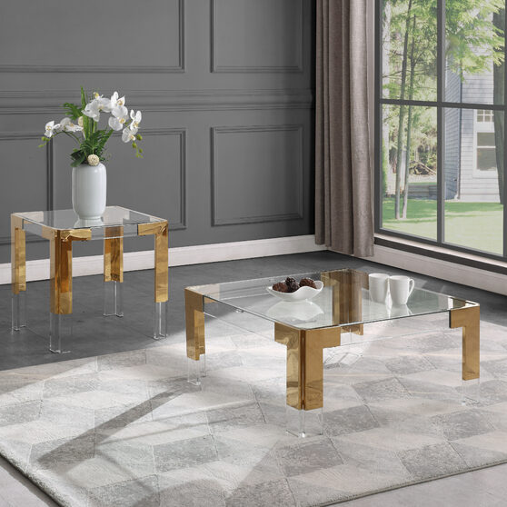 Gold / glass glam style square coffee table