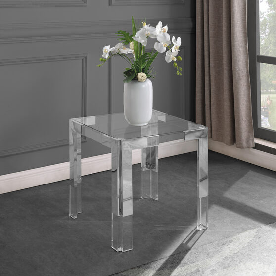 Chrome / glass glam style square end table