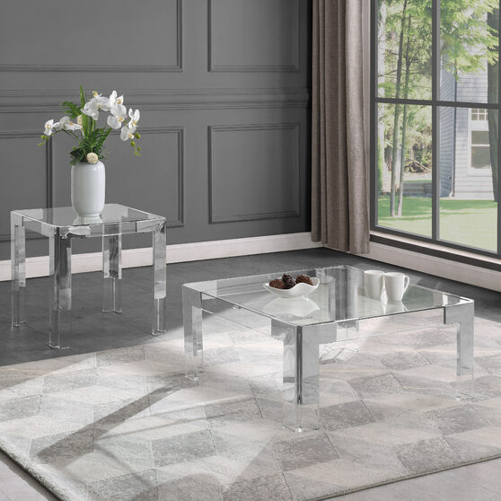 Chrome / glass glam style square coffee table