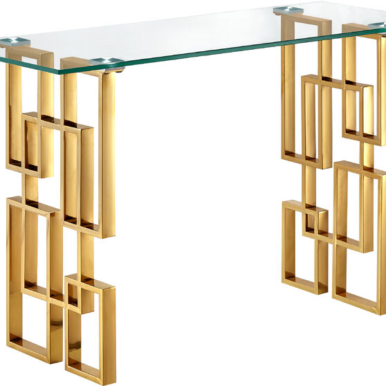 Clear glass top / golden legs console table