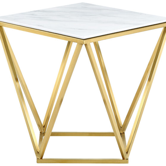 Golden stainless steel / marble top end table
