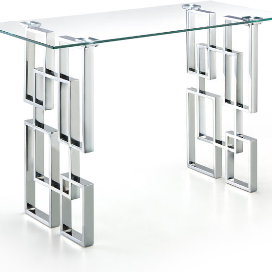 Glass top / stainless steel base sofa / console table