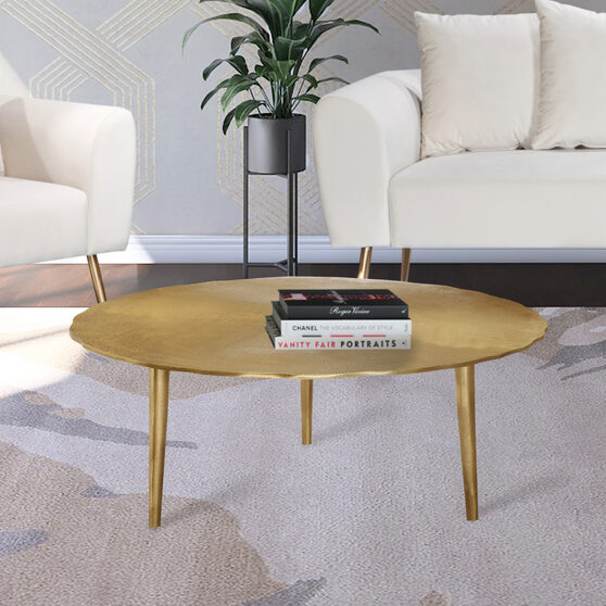 Gold textured metal finish coffee table
