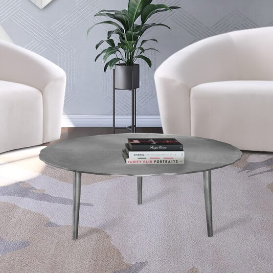 Silver textured metal finish coffee table