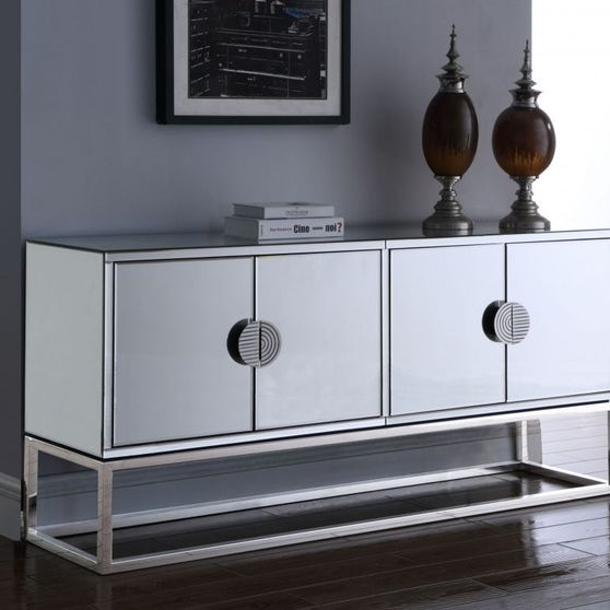 Mirrored contemporary buffet in chrome finish