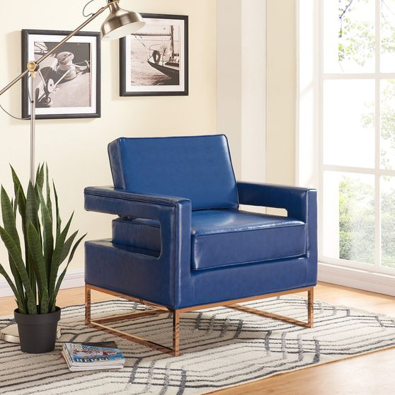 Leather contemporary style lounge chair in blue