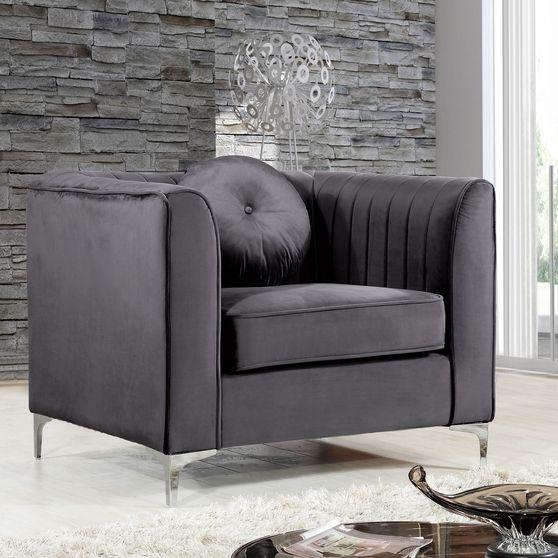 Gray velvet fabric contemporary chair