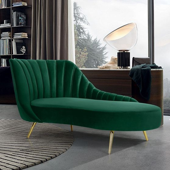 Curved velvet fabric chaise w/ gold legs