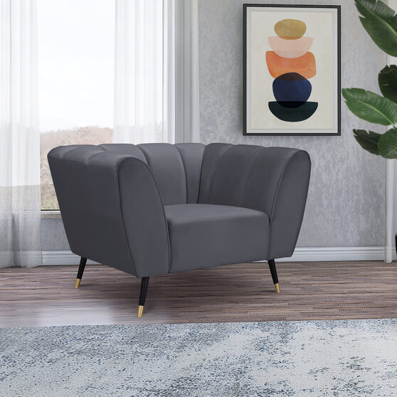 Low-profile channel tufted contemporary chair