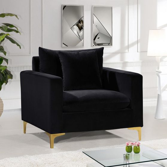 Black velvet fabric contemporary chair