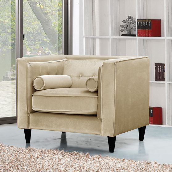 Beige velvet tufted design contemporary chair