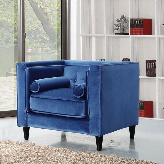 Blue velvet tufted design contemporary chair