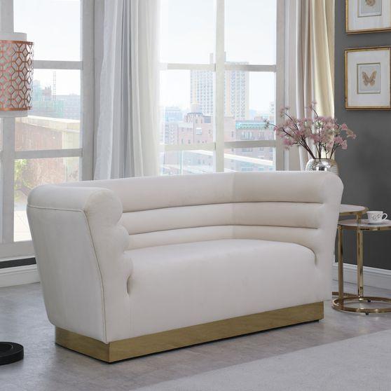 Cream velvet horizontal tufting modern loveseat