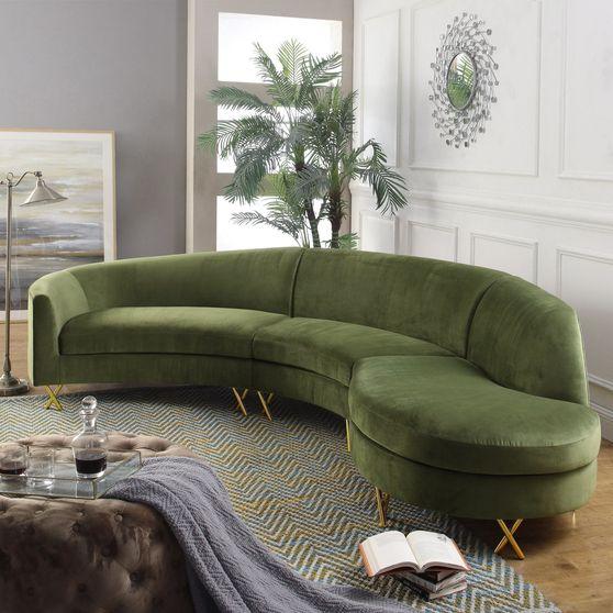 Oversized 3pcs olive velvet contemporary sectional